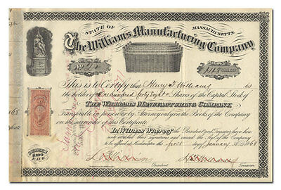 Williams Manufacturing Company Stock Certificate (Massachusetts Basket Maker)