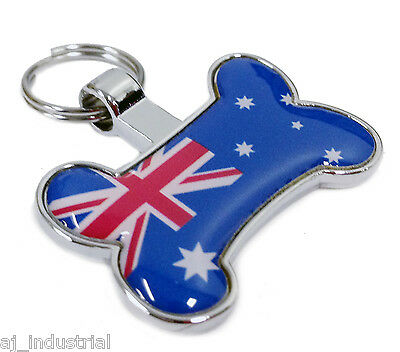 Australia Aussie Flag - PET NAME TAG ID - Personalised Free Engraving Dog-Cat