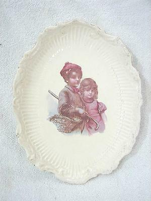 Antique Transfer Ware Plate Children with Basket