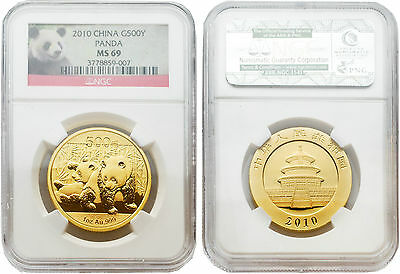 China 2010 G500Y Panda 1 oz Gold Coin NGC MS69