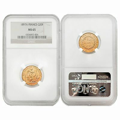 France 1897A Angel Writing 20 Francs Gold NGC MS65