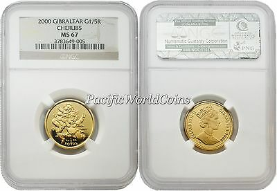 Gibraltar 2000 Cherubs 1/5 Royal 1/5 oz Gold NGC MS67