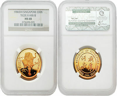 Singapore 1986 Year of the Tiger 1/2 oz Gold NGC MS68