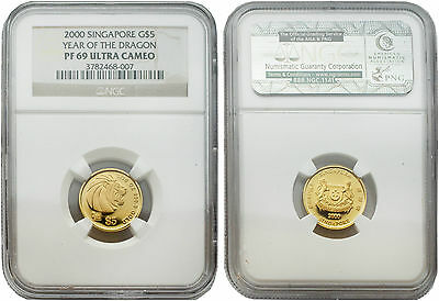 Singapore 2000 Year of Dragon $5 1/10 oz Gold NGC PF69 ULTRA CAMEO