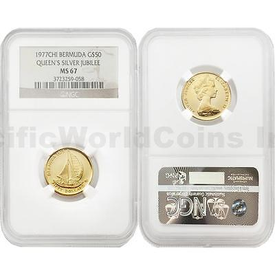 Bermuda 1977-CHI Queen's Silver Jubilee $50 Gold NGC MS67