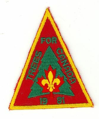 1981 Boy Scouts Trees For Canada HTF Vintage Patch/Badge - Red