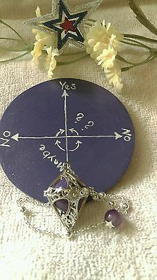 Hot Set Silver Locking Chamber Pendulum & Oracle Answer Board Metaphysical