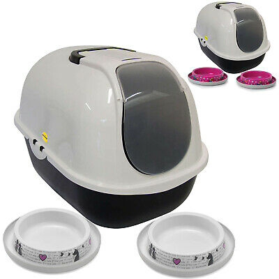 Cat Flip Litter Tray + 2 Trendy Bowls Box Hooded Toilet Filter Bowl