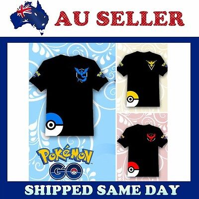 NEW- Pokemon Go Team Valor Mystic Instinct Pokeball Mens Womens Tops T Shirt Tee