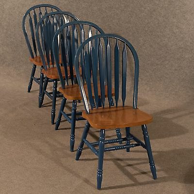 Quality Kitchen or Dining Chairs Set 4 Painted French Beech Generous Size 20th C