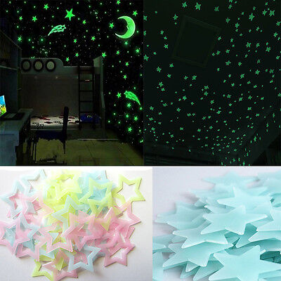 100 Glow In The Dark Stars Wall Stickers Kids Bedroom Nursery Room Ceiling Decor