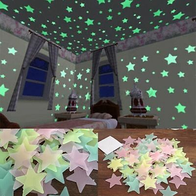 40 Glow In The Dark Stars Wall Stickers Kids Bedroom Nursery Room Ceiling Decor