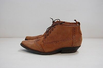 Size 38 Vintage Ladies Brown Western Cowgirl Leather laceup ankle boots
