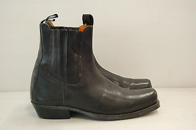 Size 45 Vintage Men Black Riding Motorbike Western Leather Ankle boots