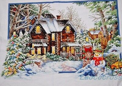 """2017 LARGE NEW Finished completed Cross stitch""""Christmas winter""""decor sale"""