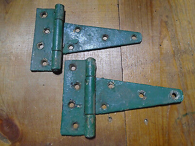 "Pair Of 5"" Shed Door Hinges - Vintage Hunter Green - Work Great (6070-A)"