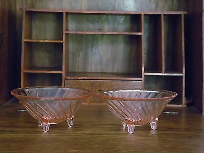 "JEANNETTE SWIRL Depression Glass PINK Three-footed~ 5.5""OPEN CANDY/NUT DISH"