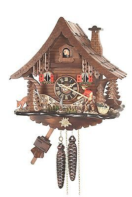 cuckoo clock black forest 1 day german wood fisher man mechanical new