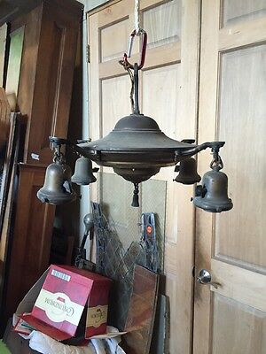 Lt 25 Antique Brass 4 Arm Pan Fixture 12 Inch High 16 Inch Wide