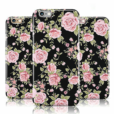 Pink Rose Flower Vintage Pattern Black Case Cover For Apple Iphone Mobile Phones