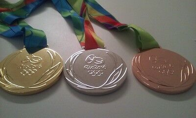 Full Set of 3 Rio 2016 Olympic Medals Gold Silver Bronze with Ribbons Souvenir