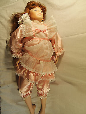 """Gallery Collectible Dolls Porcelain Life Like Brunette Girl Pink 28"""" Tall"""