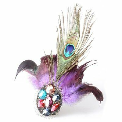 Purple Peacock Feather Crystal Rhinestone Hair Clip Fascinator AD