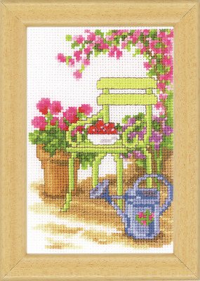 Vervaco Sit In The Garden -2 Cross Stitch Kit