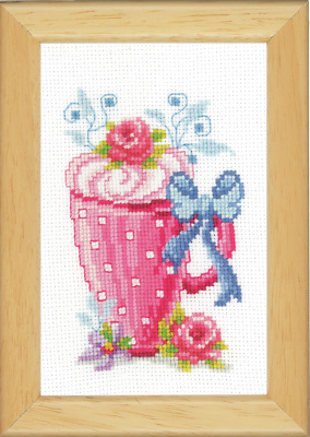 Vervaco Pink Latte Cup & Flowers Cross Stitch Kit