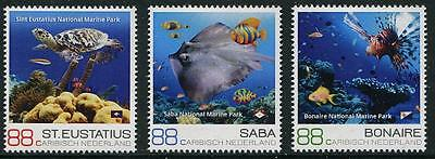 Marine Life set of 3 stamps mnh Dutch Caribbean 2016 fish turtle ray coral