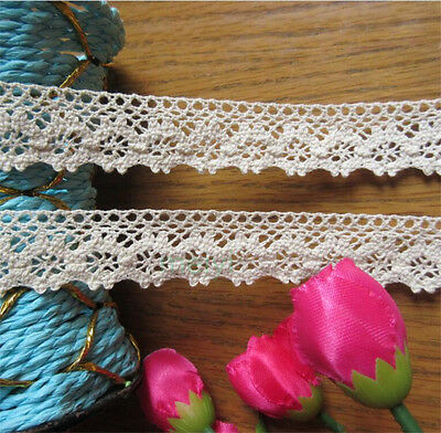 2 yards Vintage Ivory Cream Cotton Crochet Lace Trim Wedding Ribbon Sewing Craft