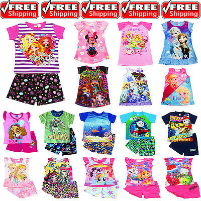 NEW Sz 2-16 KIDS SUMMER PYJAMAS BOYS GIRLS OUTFITS TEE TOP SLEEPWEAR PJ PJS GIFT