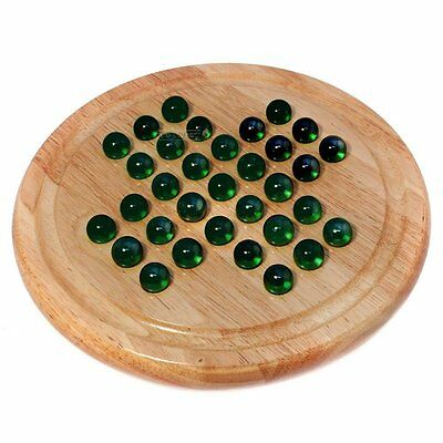 Natural Wood Games Solitaire Board with Green or Blue Glass Marbles