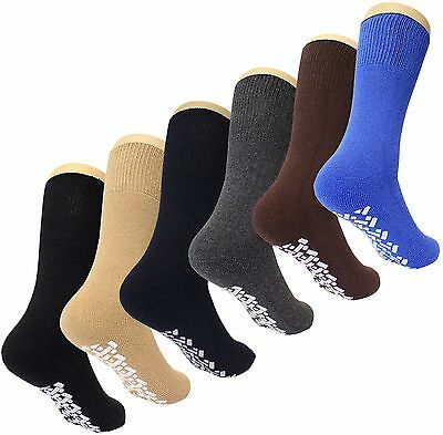 Diabetic Non Skid Slipper Socks /w Grippers for Men - 6 Pairs