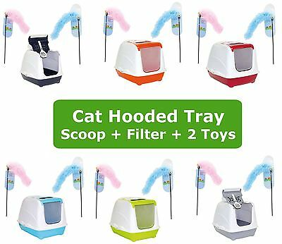 Cat Flip Litter Tray + 2 Toys Dangler 6 Colours Box Hooded Toilet Filter Scoop