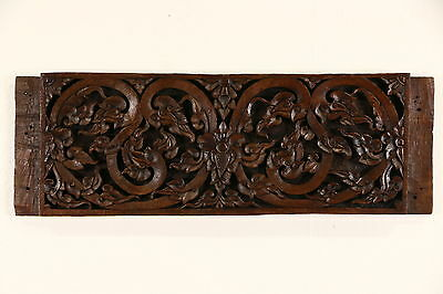 "Thai Architectural Salvage Fragment, Antique Hand Carved Teak, 16"" x 39"""