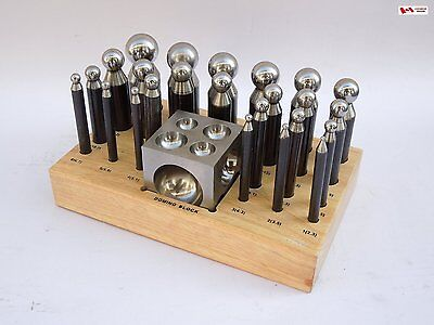 3x PARUU® 24pc Dapping Block & Punch Set with wooden stand, high carbon steel