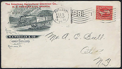 USA 1901 2c Red American Agricutural Co Train Railway Illustrated Envelope