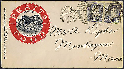 USA 1889 2 x1c Blue Pratts Poultry Food Horse Illustrated Advertising Envelope