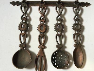 4 Rustic Brass Metal Decorative Hanging Spoons And Fork