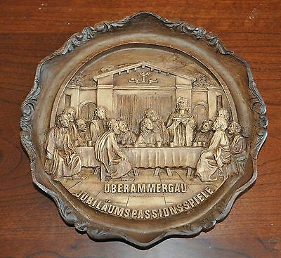 Vintage Oberammergau Passion Play Last Supper Wooden Carved Wall Hanging 7""