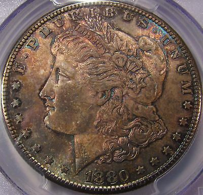 1880-S $1 Morgan Silver Dollar. PCGS MS64. Both Sides Engulfed with Toning. PQ