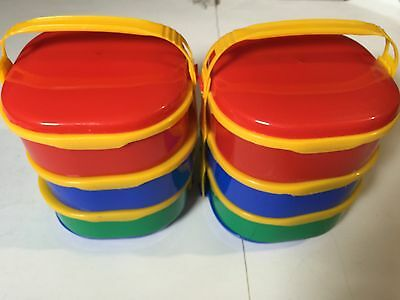 Picnic Ware Plastic Red Yellow Green Blue Stackable Food Storage