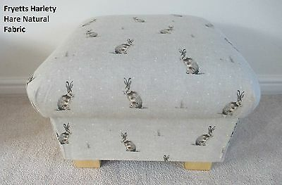 Fryetts Hartley Hare Natural Fabric Footstool Footstall Spotty Taupe Polka Dots