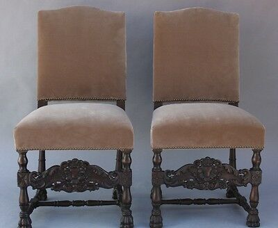 Pair 1920s Antique Carved Wood Spanish Revival Chairs Velvet Upholstery (9418)
