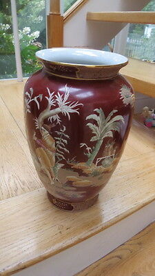 Chinese  Hand painted Porcelain Vase Qing Dynasty design Cinnabar color