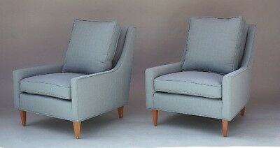 Pair 1950s Mid Century Modern Blue Armchairs Antique Seat Vintage Chair (9423)