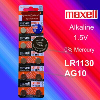 10 X Maxell 0%Hg LR1130 QueenOf7 Battery (AG10/390)1.5V Alkaline Batteries Local