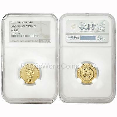 Ukraine 2013 Archangel Michael 5 Hryven 1/4 oz Gold NGC MS68