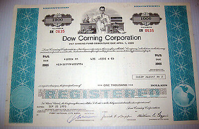 Dow Corning $ BOND [stock certificate] - early silicon/silicone electronics !